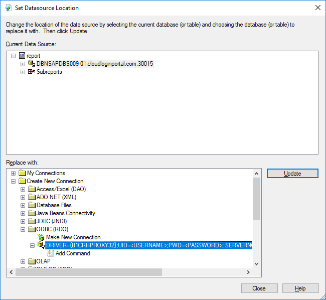 Add/Update data source location in Crystal Reports - Customerportal